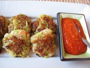 Zucchini Fritters with Romesco Sauce